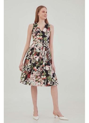 Vitrin VİTRİN V Yaka Sıfır Kol Çiçek Desen Elbise Siyah